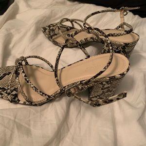 Snake print baby heels